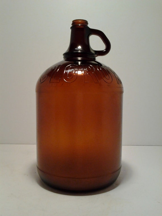 Vintage Clorox Bottle One Gallon Jug Amber Glass Glass Jug