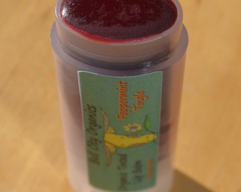 Organic Tinted Lip Balm... Peppermint... All Natural and Handmade... Pure...0.15oz