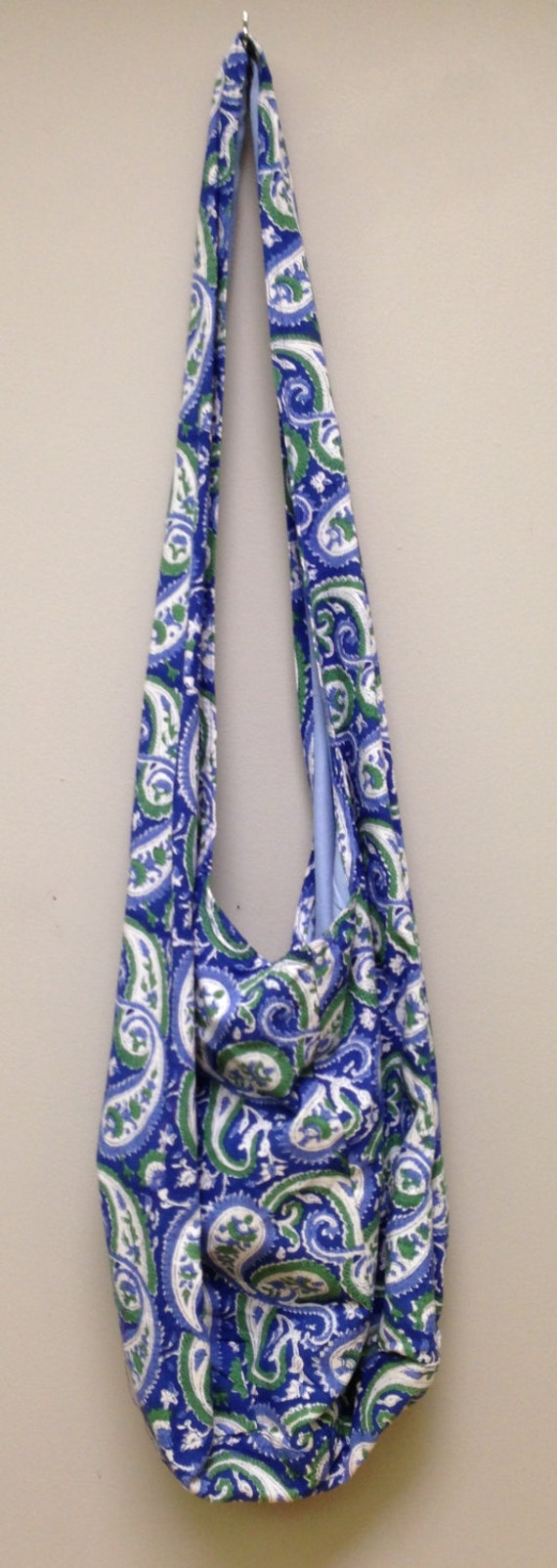 India Bag Blue Paisley Shoulder Bag Handmade Cotton Hand Sewn Colorful Hand Stamped Fabric Gift for Her India Fun Shoulder Bag