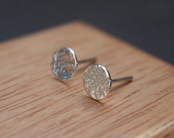 Silver studs, tiny hammered silver stud earrings for everyday wear, approx. 7mm diameter, unisex earrings, in stock, handmade in the UK