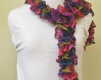 Multicoloured ruffle scarf with silver thread