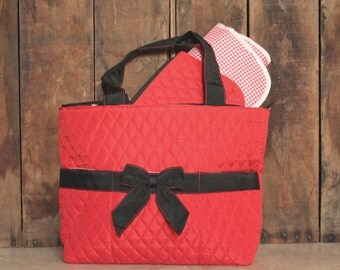 Personalized Red and Black Quilted Black Diaper Bag Set -  Red and Black Baby Tote Set
