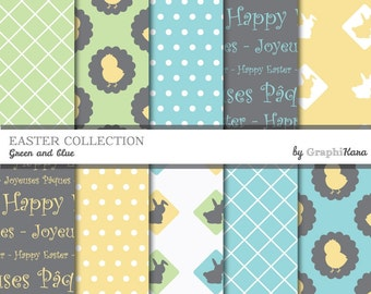 """Printable 12""""X12"""" Easter decorative papers (green and blue)"""