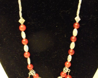 18 inch Tabetin Silver and Red Jade Beading