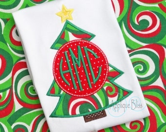 Monogram Christmas Tree Digital Applique Design - Christmas - Holiday - Christmas Embroidery Design - Circle Monogram - Machine Embroidery