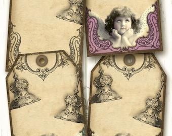 Tags- Angel Bells, digital collage Sheet Instant Download
