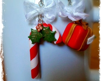 Polymer Clay Candy Canes & Gift Box Earrings