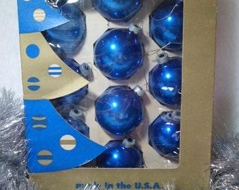 Vintage Mid Century Deco-Glass Glass Christmas Tree Ornaments ~Set of 10 Blue