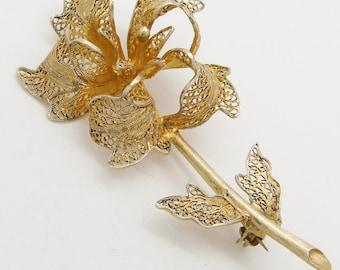 Vintage Silver Vermeil Filigree Flower Brooch Pin