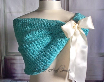 Aqua Blue Shrug Wedding Bolero Caplet Bolero Blue Shawl Bridesmaids Shoulder Cover Wedding Jacket Hand Crochet Knit