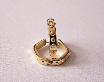 Monet Nail Head Hoops Pierced Earrings Gold Tone Vintage Five Sided Spring Rings