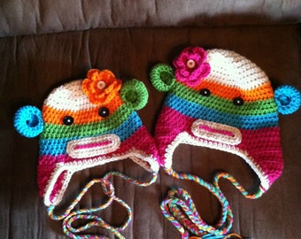 Crocheted sock monkey hats and stocking hats