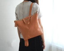 PEACH leather backpack, leather school bag, womens backpack, Leather backpack, Student bag, backpacks for women, back to school, To order