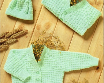 4 Ply Knitting Patterns Free Download : Cardigan and hat Etsy