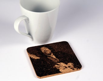 Set of 4 cork coasters with the best left-handed guitar in history
