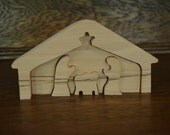 Natural Wood Nativity Puzzle Set ~ Christmas ~ Unfinished ~ Manger Scene ~ Handmade
