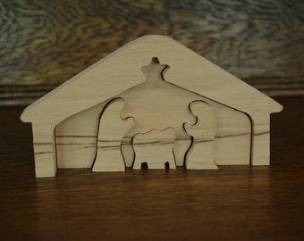 Natural Wood Nativity Puzzle Set ~ Christmas ~ Unfinished ~ Manger Scene ~ Handmade