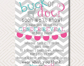 Buck or Doe? Gender Reveal and Baby Shower Invitation. DIY Printable Baby Shower or Gender Reveal Invite.