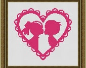 First Kiss Pink Heart Counted Cross Stitch Pattern in PDF for Instant Download