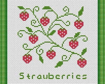 Strawberries Counted Cross Stitch Pattern in PDF for Instant Download