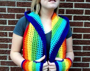 Rainbow Scoodie, Rainbow Cowl, Hooded Cowl, Crochet Cowl, Rainbow Gloves, Rainbow Scarf, Rainbow Fingerless Gloves