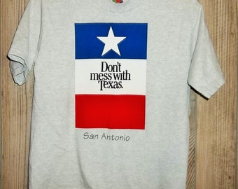 Vintage Don't Mess With Texas Shirt Gray Youth Medium T Shirt Childrens T Shirt 90s San Antonio Red White Blue Texas Flag