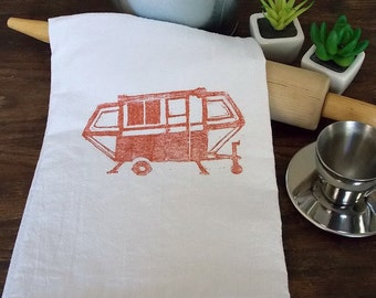 Apache Popup Camper Cotton FlourSack Tea Towel, Handprinted Orange on White, Vintage Apache Camper Orange