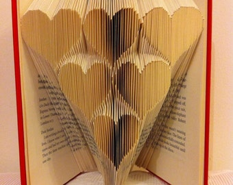 """Book folding pattern for a """"stack of hearts"""" """"6 Hearts"""" + FREE TUTORIAL"""