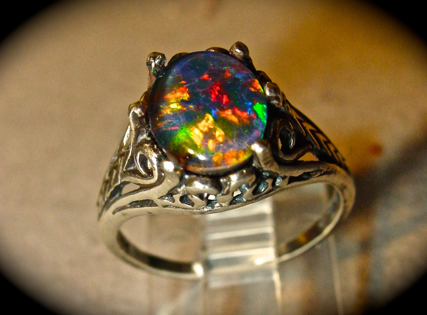 Antique Filigree style Opal Engagement Ring Spectacular