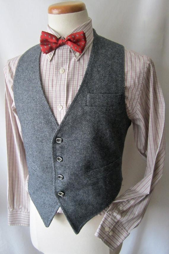 vintage laine tweed herringbone veste hommes 38 s gilet. Black Bedroom Furniture Sets. Home Design Ideas