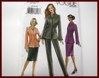 SALE Sewing patterns! Womens Fitted Suit, Jacket, Skirt, Pants pattern UNCUT Vogue 7769, sizes 12-14-16 unlined suit jacket, straight skirt