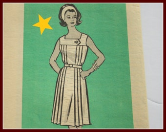 Vintage 1960s Dress Pattern size 14 Women's Vintage pattern from the 60s Marian Martin Mail Order Pattern #9490, square neckline sleeveless