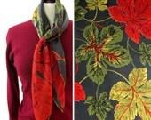 vintage 1940s scarf <> hand rolled pure silk <> bold leaf design <> designer Carol Stanley