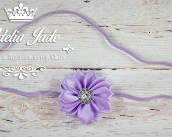 Lavender Baby Headband, Purple Baby Headband, Lavender Flower Headband, Satin Baby Girl Headband, Newborn Photo Prop, Dainty Headband