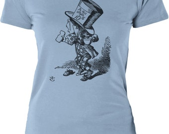 Alice in Wonderland - Mad Hatter Hastily (Black) Womens Combed Cotton T-Shirt (Sizes: XS - 2XL)