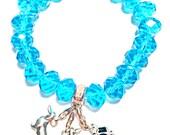 DACHSHUND 925 Sterling Silver / Crystals Bracelet '' Blue Sky  ''
