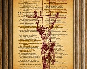 Jesus Christ, Bible Page Print, Christian Poster, Art Print