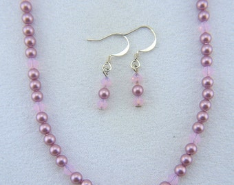 Swarovski Crystal and Pearl Necklace with matching Earrings - N016BFL