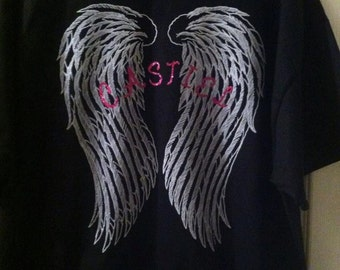 Castiel Supernatural inspired shirt,misha collins,supernatural gift,angel wings,personalized gift,angel gifts,fan gift,glitter shirt,unisex