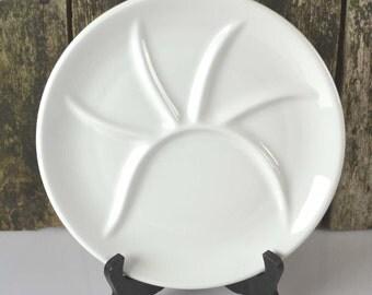 Vintage French PILLIVUYT FRANCE White Fondue/ Pierrade Divided Dinner Plate Ceramic Made In France