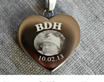 Newborn Memorial Necklace - Photo Engraved Heart Pendant - Newborn memorial - Newborn gift - engraved - personalized