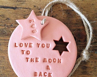 Terracotta clay decoration & personalised tag ~ I Love You to the Moon ~ Valentine's gift ~ wedding gift ~ new baby gift ~ nursery decor