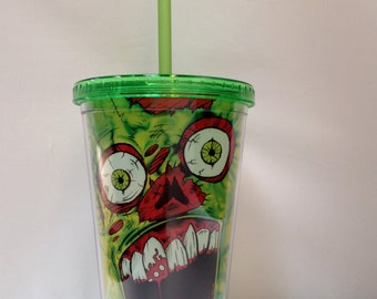 16 oz. Zombie Face Tumbler Cup with Straw