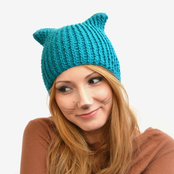 Knitting Pattern Cat Beanie : Square Cat Ear Hat Cat Beanie or Knitted Cat Hat by ...