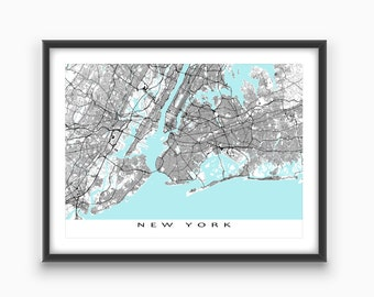 New York Map Print, New York City Map Art NYC Street Map