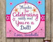 Personalized - American Girl Party Favor Tag -Doll Tea Birthday Party - Print at Home