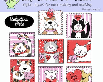Valentine Kitties and Puppies-Clipart Instant Download