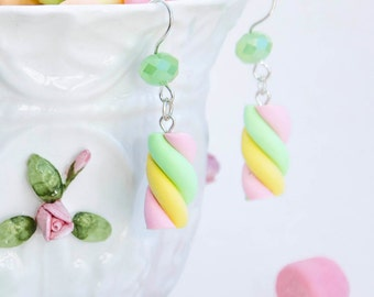 Marshmallow Twists Handmade Polymer Clay, Velvety Surface Adorable Earrings