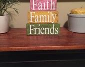 Faith family friends primitive home decor stacker blocks