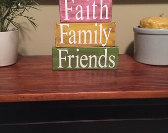 Faith family friends primitive home decor stacker blocks